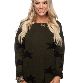 Women's Knit Tunic Sweater with Star Pattern