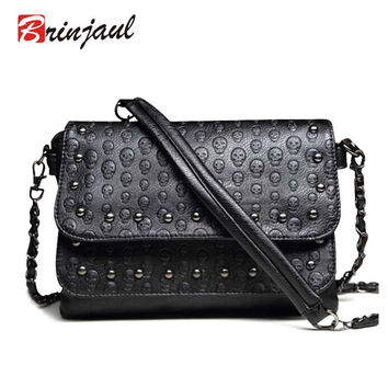 Hot Sale Women's Handbag Vintage Bag Shoulder Bags Women Skull Messenger Bag Chain Crossbody Fashion Leather Ladies Bags Rivet