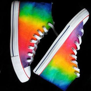 CREYONS Custom handpainted rainbow sneakers,personalized shoes, rainbow converse, rainbow vans