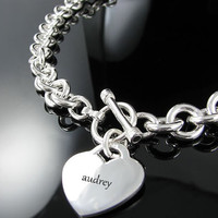 Personalized Tiffany Style Heart Charm Toggle Necklace  Choker  Stamped with your name or phrase