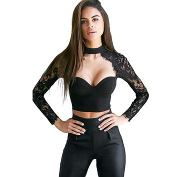 Women Lace Long Sleeve Crop Tops Blouse Shirt Bustier Bralette T-Shirts