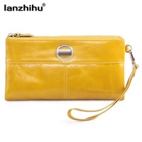 2016 New Genuine Leather Women wallets with Wristlet Brand Zipper Pocket Large Capacity Leather Coin Purse Card Holder Clutch