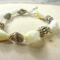 Shell Bracelet with brown and white shell colors