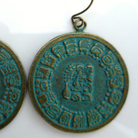 Mayan Glyph Calendar Astrology Coin Earrings in Bronze Aged Verdigris Green Patina Summer Trend Festival Boho Hippie Jewelry