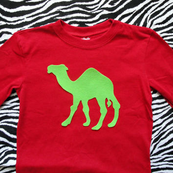 Christmas Hump Day Camel Shirt for Toddler Boys. Lime Green Camel on long sleeve tee. You pick size.