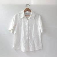 vintage linen top. white linen blouse. short sleeved button up top. minimalist.