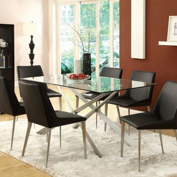 7 pc Anderson collection silver metal finish and glass top dining table set with padded seating