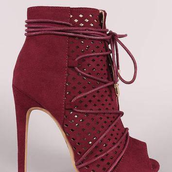 Perforated Suede Lace-Up Stiletto Ankle Boots