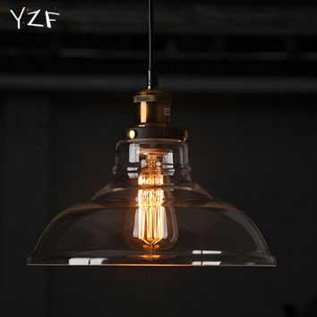 YZF E27 American Country  Vintage Glass Lampshade Pendant Light Glass Lamp for Bar Clothes Shop Pendant Lamp lustres Fixtures
