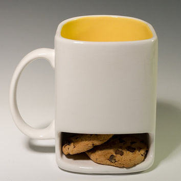 White and yellow Dunk mug by apiecebydenise on Etsy
