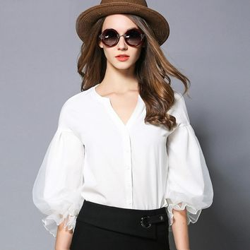 Lantern 1/2 sleeve office ladies white blouse 2017 Spring New arrivals women fashion work Shirts V-neck female Top 1961LY