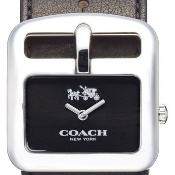 COACH 'Duffel Buckle' Square Leather Strap Watch, 38mm | Nordstrom