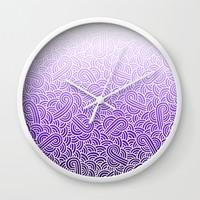 Ombre purple and white swirls zentangle Wall Clock by Savousepate