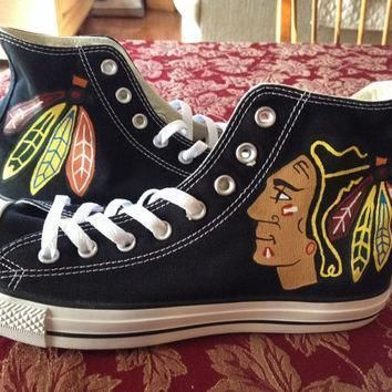 womens chicago blackhawks converse hand painted