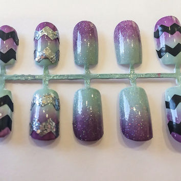 Chevron Fake Nails Ombre Acrylic Nails Glitter False Nails