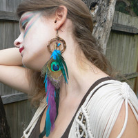 ONE peacock feather dreamcatcher earring turquoise amethyst peacock in native american inspired tribal boho belly dancer and hipster style