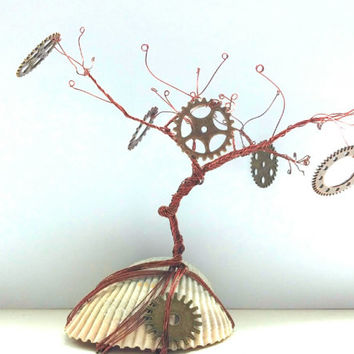 Steampunk, Wire wrapped Earring tree, Tree Stand, Earring holder, Shell base, Jewelry Organizer, steampunk shell, shell stand, earring shell
