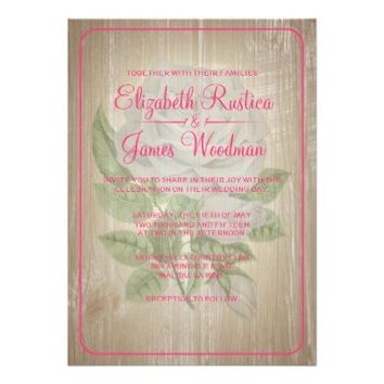 Hot Pink Rustic Floral Wedding Invitations