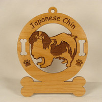 3425  Japanese Chin Ornament Personalized With by gclasergraphics