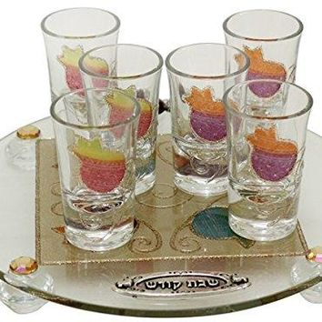 Cheers Collection Liquor Set with 6 Glasses And Round Tray Pomegranate - Rainbow - Tray 15 inch  X 3.5 inch  - Cup 3.75 inch H