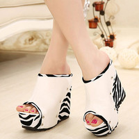 Fashion Wedge High Heel Slides White PU Sandals