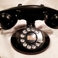 WORKING- Black Rotary Phone - 202 Model 1937