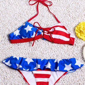Halter Neck Striped Flounce Stars and Stripe Pattern Bikini Set