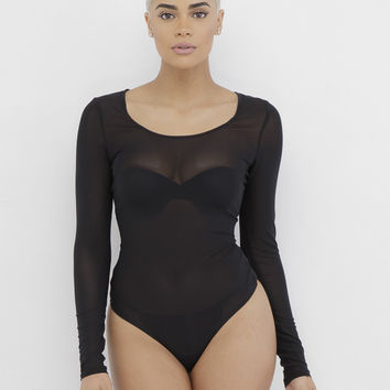 CHARLI SHEER BODYSUIT - BLACK