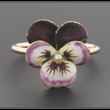 SOLD to J. - 3rd Payment - Vintage Enamel Pansy Ring | 14k Gold Pansy Ring | Vintage Pansy Ring | Purple Pansy Flower Ring