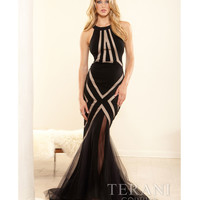 Terani 2014 Prom Dresses - Black & Nude Halter Mermaid Prom Dress