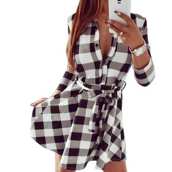 SHUJIN Plus Size 3XL Dress WomenSpring Long Sleeve Dress Shirts Vintage Plaid Female Print Pleated Tunic Dress Vestidos 4XL