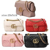 Gucci Trending Women Metal GG Buckle Leather Satchel Shoulder Bag Crossbody I