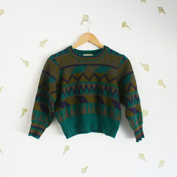 vintage 80s women's sweater / jewel tones / plum + emerald / cropped / three-quarter sleeves / wool / x-small / small