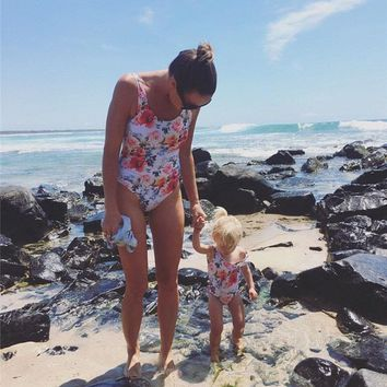2018 Summer Floral Matching Mommy & Me  Moms One Piece Swimsuit Pre-Order