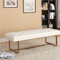 Gavin White Leather / Rose Gold Bench