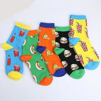 French Fries, Sausage, Pizza, Hamburger, Drinks Socks Funny Crazy Cool Novelty Cute Fun Funky Colorful
