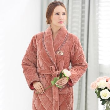 Ladies Winter Flannel Pajamas Thick Quilted Robe Three Layer Nightgown Plus Size Thick Bathrobe Tracksuit Adult Minion Sleep Top