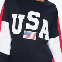 Missguided - Navy USA Colour Block Sweatshirt