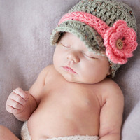 Baby Girl Hat or Baby Boy Infant Newsboy Hat WITH 2 flowers and 2 bands Awesome Photo Prop
