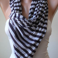 Grey and Dark Purple Scarf - Combed Cotton Fabric for Summer