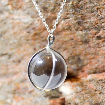 Antique Sterling Silver Edwardian Pools of Light Crystal Ball Pendant