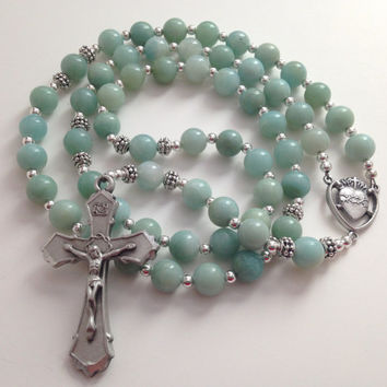 Amazonite Rosary, Sacred Heart of Jesus, Silver Crucifix, Catholic Rosary, Prayer Beads, Religious Gift