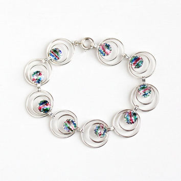 Vintage 835 Silver Iris Glass Circular Panel Bracelet - European Retro 1940s Rainbow Glass White Green Pink Blue Stone Statement Jewelry