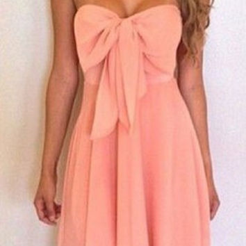 Pink Strapless Sleeveless Bowknot Dress