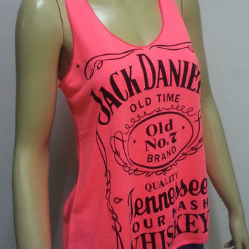 Cs26 Jack Daniel's Tennessee Whiskey Old Time No.7 Brand T-Shirt Women shirt Tank Top Rock Punk classic sleeveless Pink Size S M