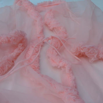 1960's Peignoir Robe Sheer Pink Lemonade Nylon Chiffon Double Ruffled Dreamy Lingerie Wedding Trousseau Bridal Lingerie