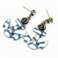 Sailor Anchor Rhinestones Flower Earrings from Linsi's Boutique