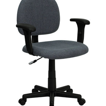 Flash Furniture Mid-Back Ergonomic Gray Fabric Mobile Computer Home Office Desk Task Chair with Adjustable Arms