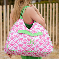 Shell Monogram Beach Bag in Pink and Green