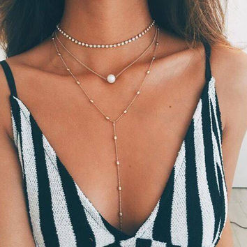 Shiny Gift Stylish Jewelry New Arrival Chain Pearls Tassels Sweater Necklace [10794920839]